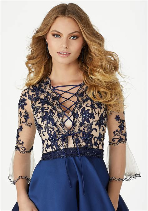 Front Tying Corset Style Party Dress with Floral
