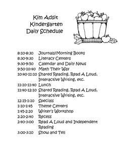 Kindergarten Class Schedule | Daily Schedule & Interactive Writing ...