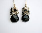 Onyx Teardrop Earrings, Black Gemstone Pearl Cluster, Gold Vermeil
