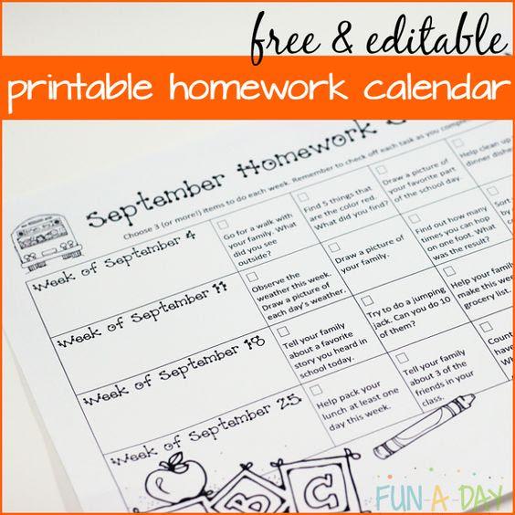 Calendar Homework for Preschool and Kindergarten | Homework ...