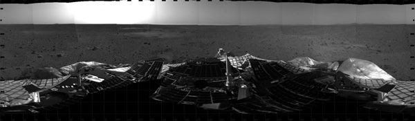 A mosaic taken with the Spirit rover's navigation cameras after landing on Mars on January 4, 2004.