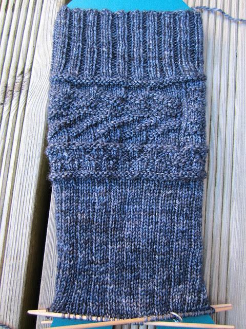 Fishbone Gansey sock WIP (1)
