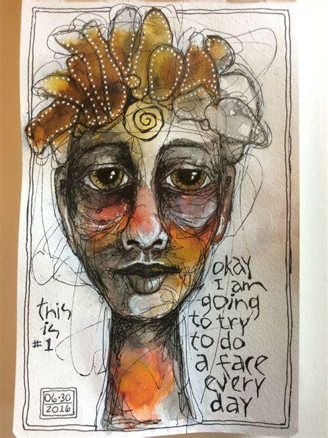 deb weiers face  art journal watercolor art art
