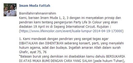 Imam Muda Mahu Party Life In Colour Di Litar Sepang Dihentikan