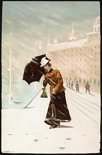 Kvinne ute i vintervær, ca 1900 by National Library of Norway