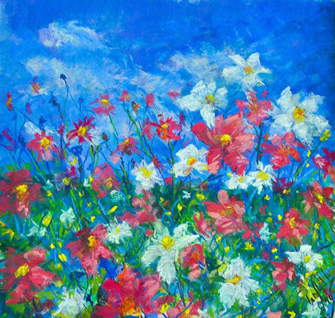 Field Of Flowers Original Pastel Drawing