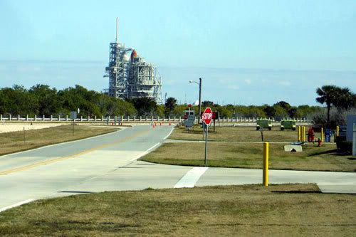Space shuttle Discovery at Launch Complex 39A.