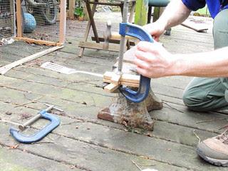 Rivetting the spatula handle blocks