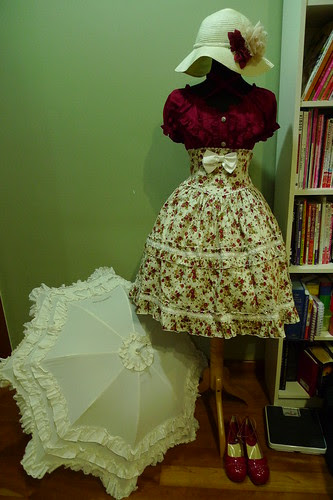 Wine Red & Cream Summer Lolita Outfit