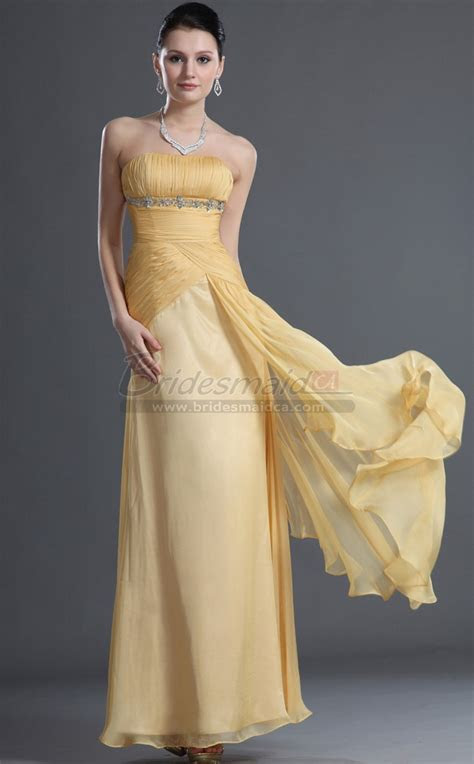 Strapless Chiffon Yellow Long Sheath Empire Waist