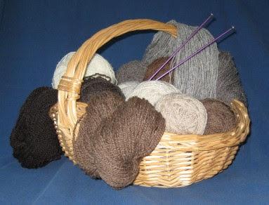 Basket of Shetland handspun.