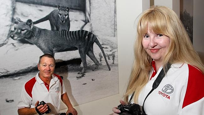 Thylacine expedition leader Mike Williams, left, and expedition participant Rebecca Lang
