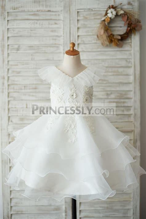 Cupcake V Neck Ivory Lace Organza Wedding Flower Girl