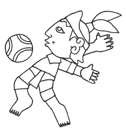 Jugador De Pelota Maya Para Pintar Y Colorear Colorear Mayas