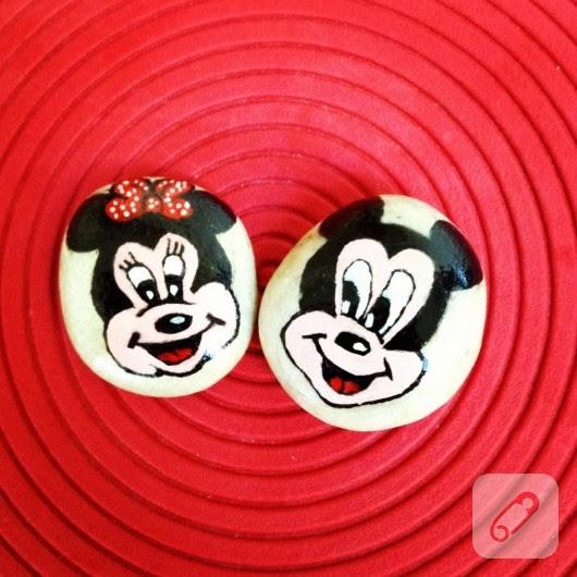 Minnie Ve Mickey Mouse Desenli Taş Boyama 10marifetorg