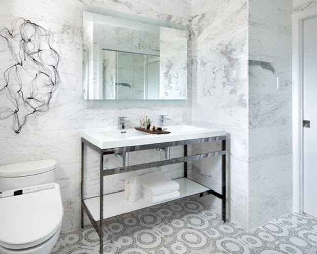 35 black and white marble bathroom floor tiles ideas and ...