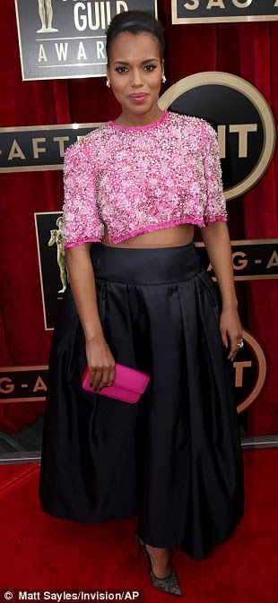 Daring: Pregnant Kerry Washington (left) flashed her midriff in custom Prada, Maria Menounos (centre) got cheeky as she flashed her tone pins, while Jane Krakowski stood out in her mint green asymmetrical number