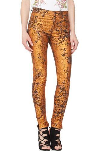 McQ Alexander McQueen Metallic High Waist Skinny Jeans