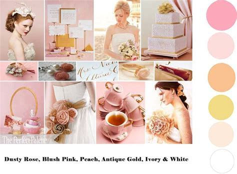 Dusty Rose Blush Pink Peach Antique Gold Ivory & White