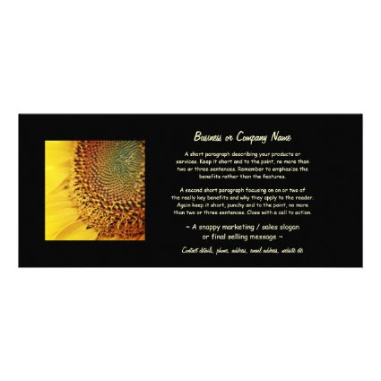 Fresh and Golden Sunflower Personalized Rack Card