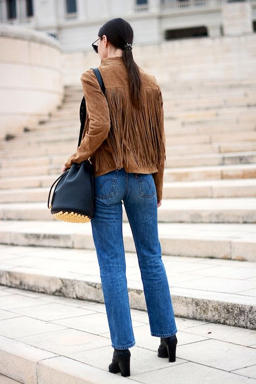 Le Fashion Blog Blogger Style Brown Suede Fringe Jacket Alexander Wang Studded Bucket Bag Mid Wash Levis Jeans Chunky Heeled Ankle Boots Via Fashion Vibe