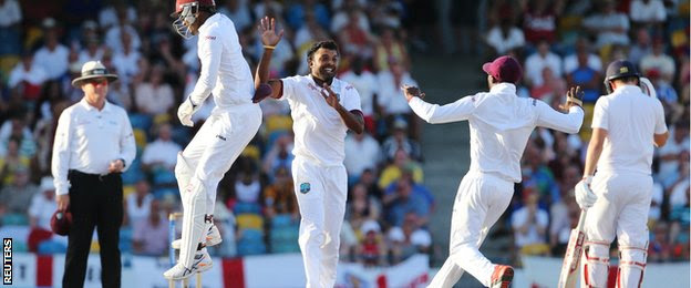 West Indies celebrate the wicket of Moeen Ali