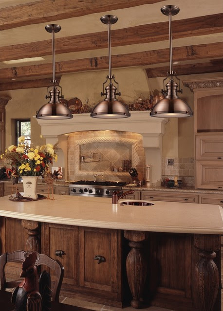 Chadwick Industrial Antique Copper Kitchen Pendant Lighting Traditional Kitchen New York