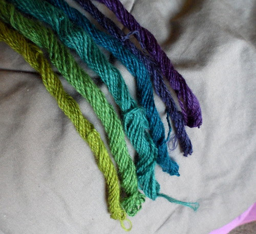 Fiberoptic yarns gradient braid handspun miniskeins