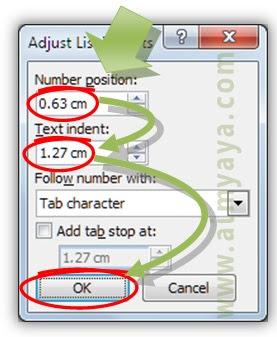 Gambar: Mengeset jarak spasi antara nomor dengan teks di microsoft word