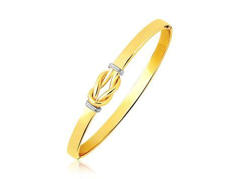 Intertwined Knot Slip On Bangle in 14k Two Tone Gold (5