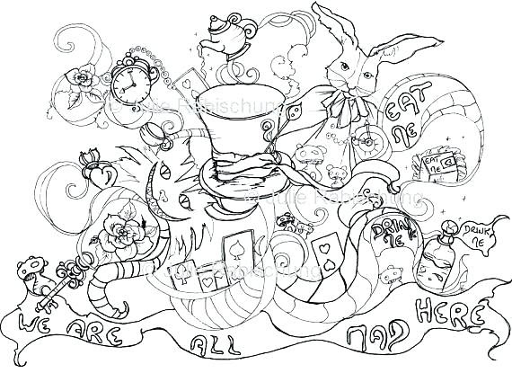 Galaxy Alice In Wonderland Trippy Coloring Pages Coloring And Drawing