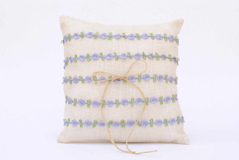 LILAC Ring Bearer Pillow / Lavender / Little Flowers / VINTAGE Inspired / COTTAGE / Rustic / Country Chic / Garden Wedding / Beige / Linen - LulueFrufru