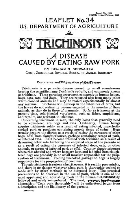 Trichinosis: A Disease Caused by Eating Raw Pork