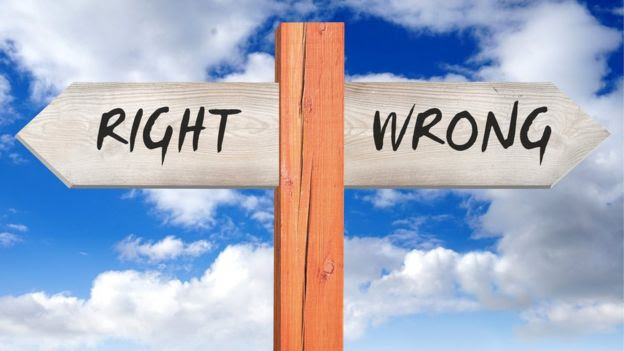 Right /Wrong - wooden sign