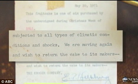 Moving again: The cake was left with the grocery store's manager for the next 40 years before being auctioned off