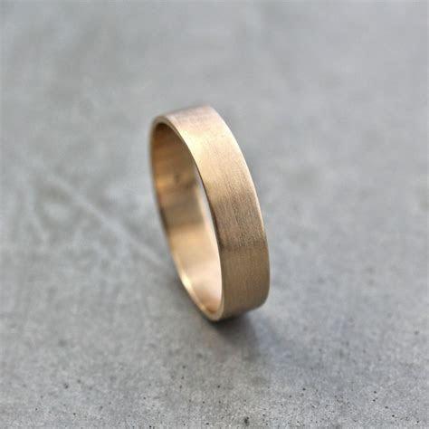 Men's Gold Wedding Band Unisex 5mm Wide Brushed Flat 10k