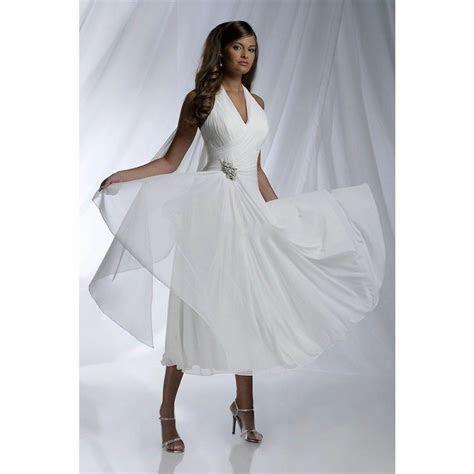 tea length simple   halter wedding dresses short