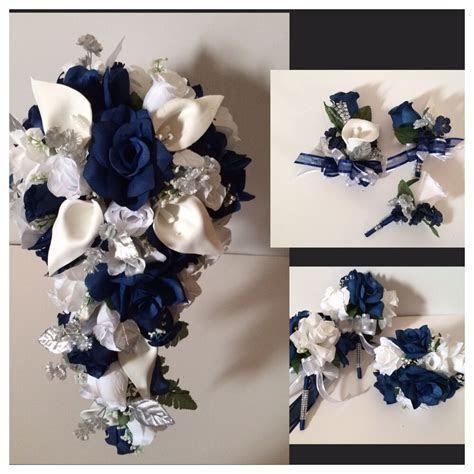 Marine Navy Blue Calla Lily Bridal Bouquet Package Wedding