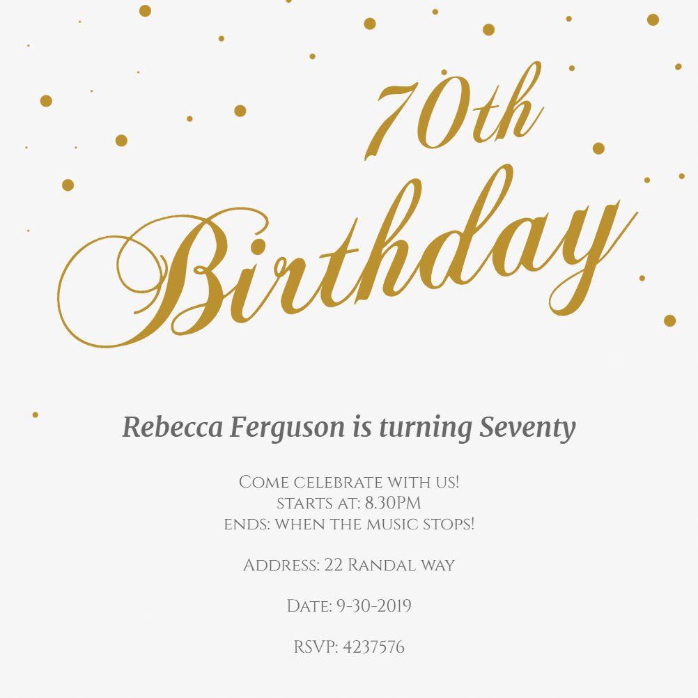 Einladungskarte 70 Geburtstag Einladungskarten 70