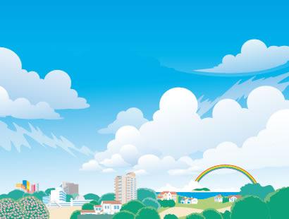 海辺の街並み風景のイラストaieps ベクタークラブイラストレーター