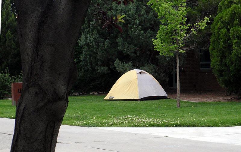 Our Ride the Rockies Day One campsite next to Wubben Hall, Colorado Mesa University.