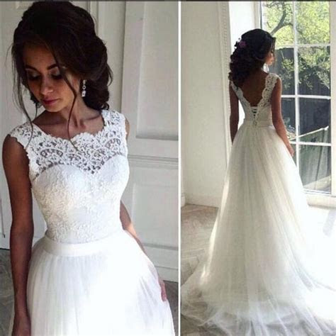 Discount Lace Cheap 2016 Beach Wedding Dresses Crew A Line