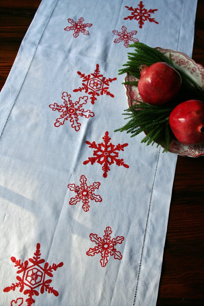 Hemstitched Linen Table Runner. Red Snowflake. Christmas Gift Idea. Holiday Table.