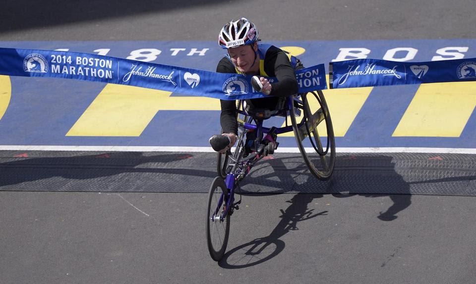 Tatyana McFadden crossed the finish line to win her second straight Boston Marathon.