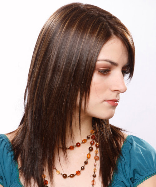 Long Straight Formal Hairstyle with Side Swept Bangs ...