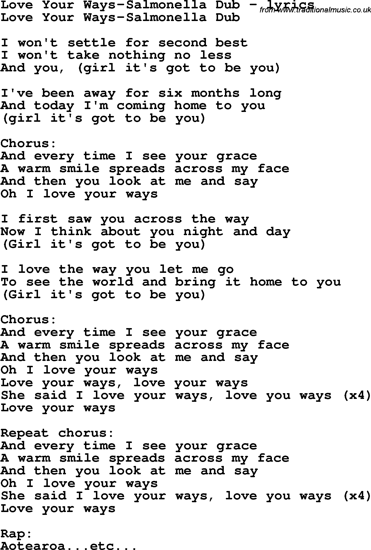 Love Song Lyrics For Love Your Ways Salmonella Dub
