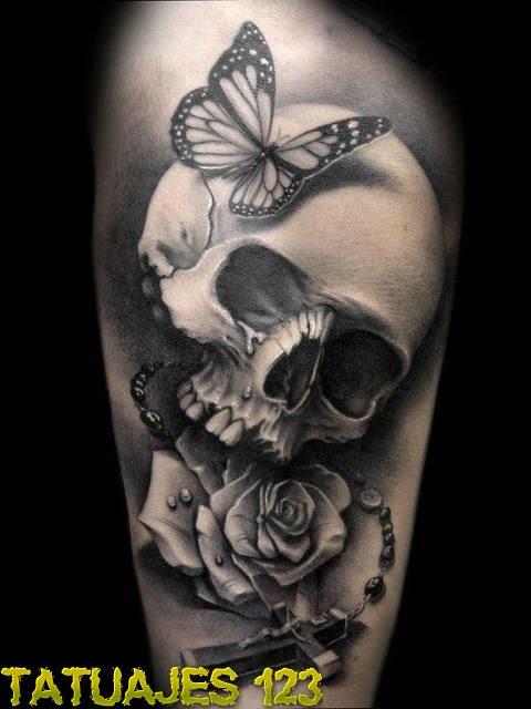 Calavera Con Mariposa Y Rosa Tatuajes 123