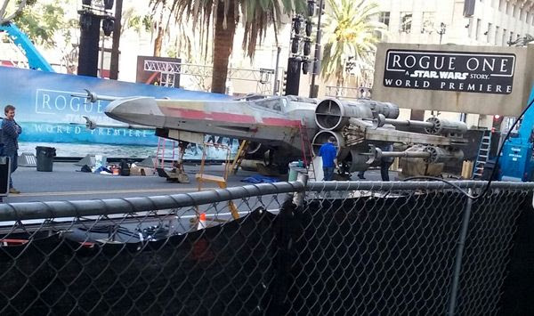 The full-size X-Wing prop is set up on Hollywood Boulevard for the ROGUE ONE: A STAR WARS STORY premiere...on December 8, 2016.