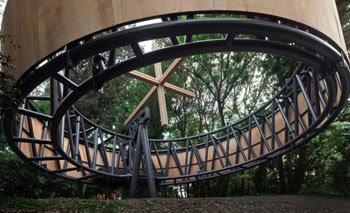 Bizarre large spinning nomadic chapel
