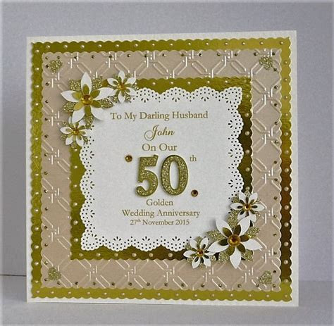 Golden 50th Wedding Anniversary Card for Wife/Husband/Mum